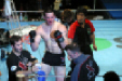 Nate Marquardt and trainer Billy Hendrickis celebrate victory in 2002 title bout